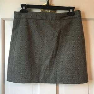 Wool Black and White Mini Skirt - Gap